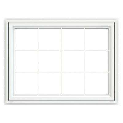47.5 in. x 35.5 in. V-4500 Series White Vinyl Awning Window with Colonial Grids/Grilles