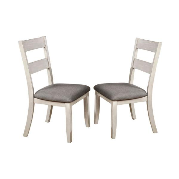 Furniture of America Lovelle White and Gray Side Chairs (Set of
