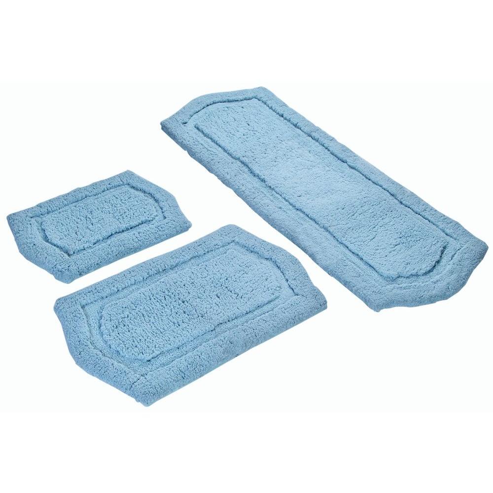 Memory Foam Spa Blue 22 in. x 60 in., 21 in. x 34 in. and 17 in. x 24 in. 3-Piece Paradise  Bath Rug Set