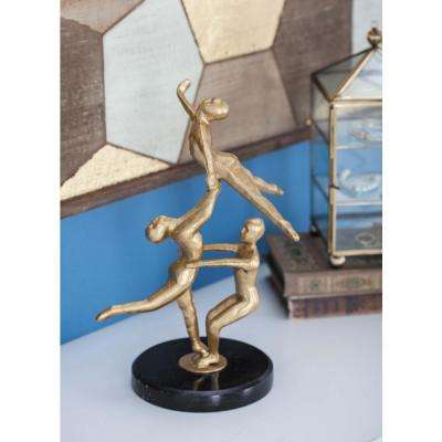 12 in. Iron Ballerinas Sculpture in Gold