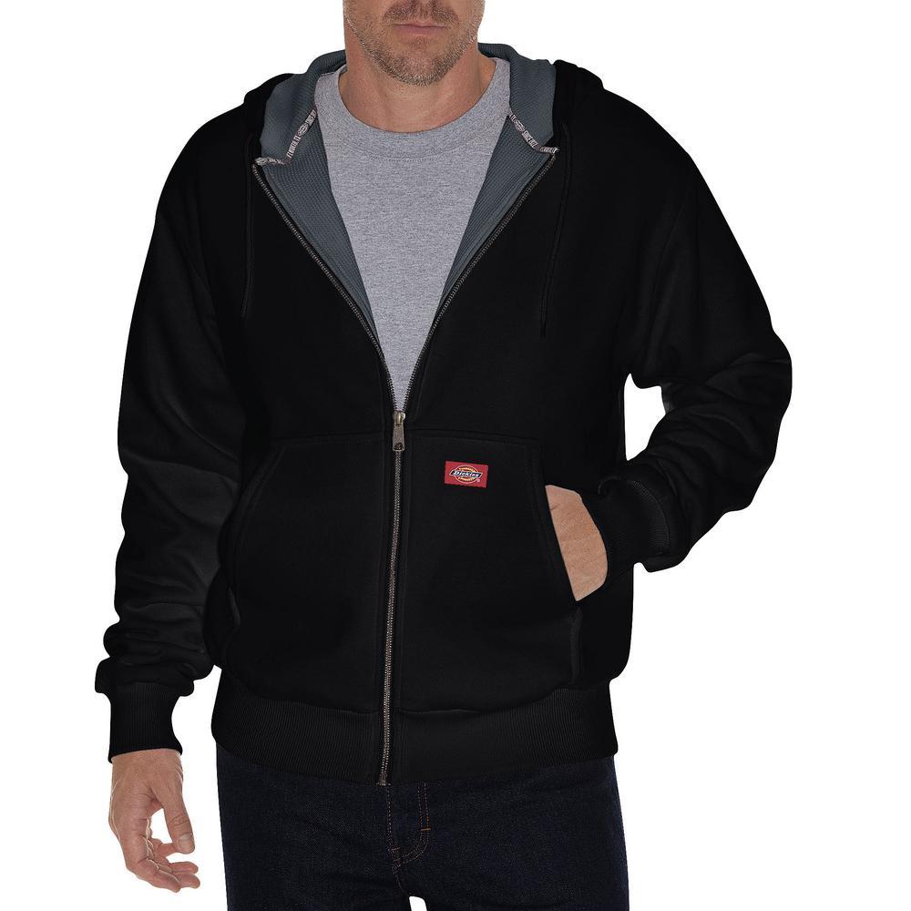 Men Small Short Thermal Lined Black Fleece Hoodie