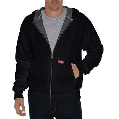 Men Large Thermal Lined Black Fleece Hoodie