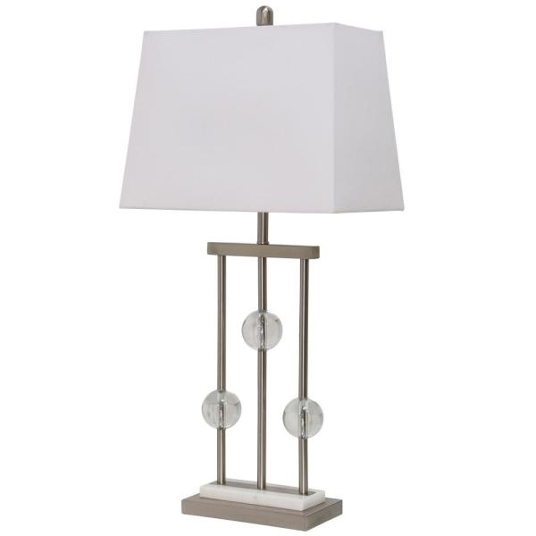 Hendon 32 in. Brushed Steel, Clear, Missing Marble Color Table Lamp
