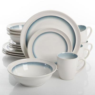 Lawson 16-piece White and Teal Reactive Glaze Dinnerware Set