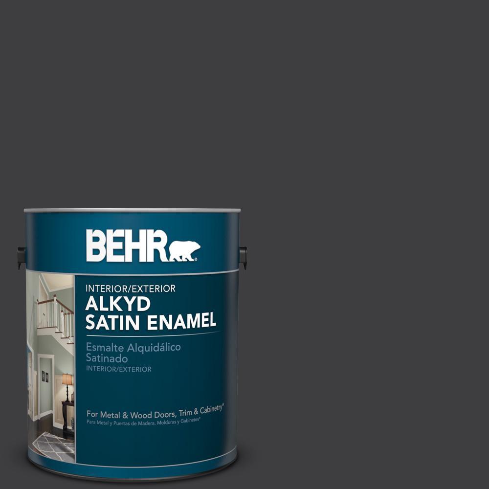 1 gal. #AE-54 Molten Black Satin Enamel Alkyd Interior/Exterior Paint