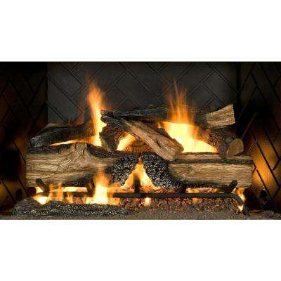 Country Split Oak 30 in. Vented Natural Gas Fireplace Logs