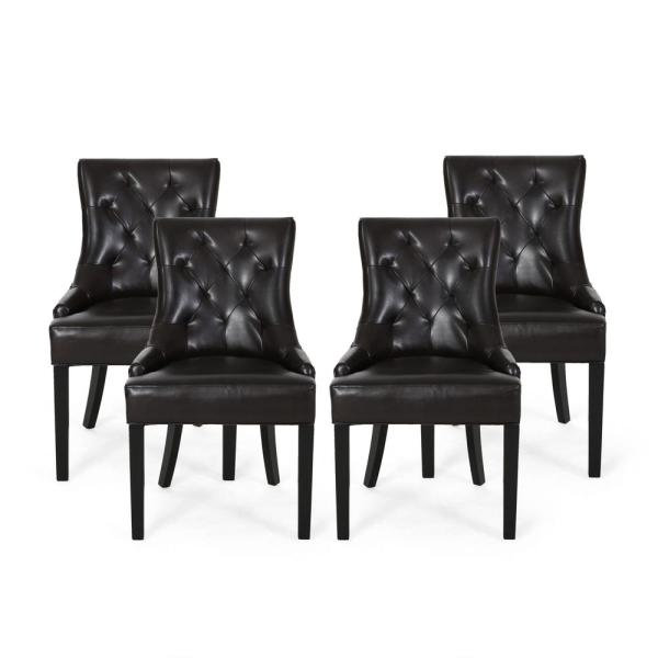 Hayden Brown Leather Upholstered Dining Chair (Set of 4)
