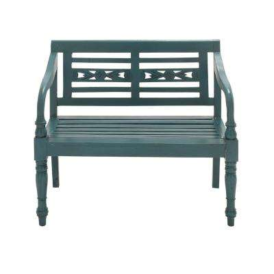 New Traditional Carved Teal Mahogany Bench