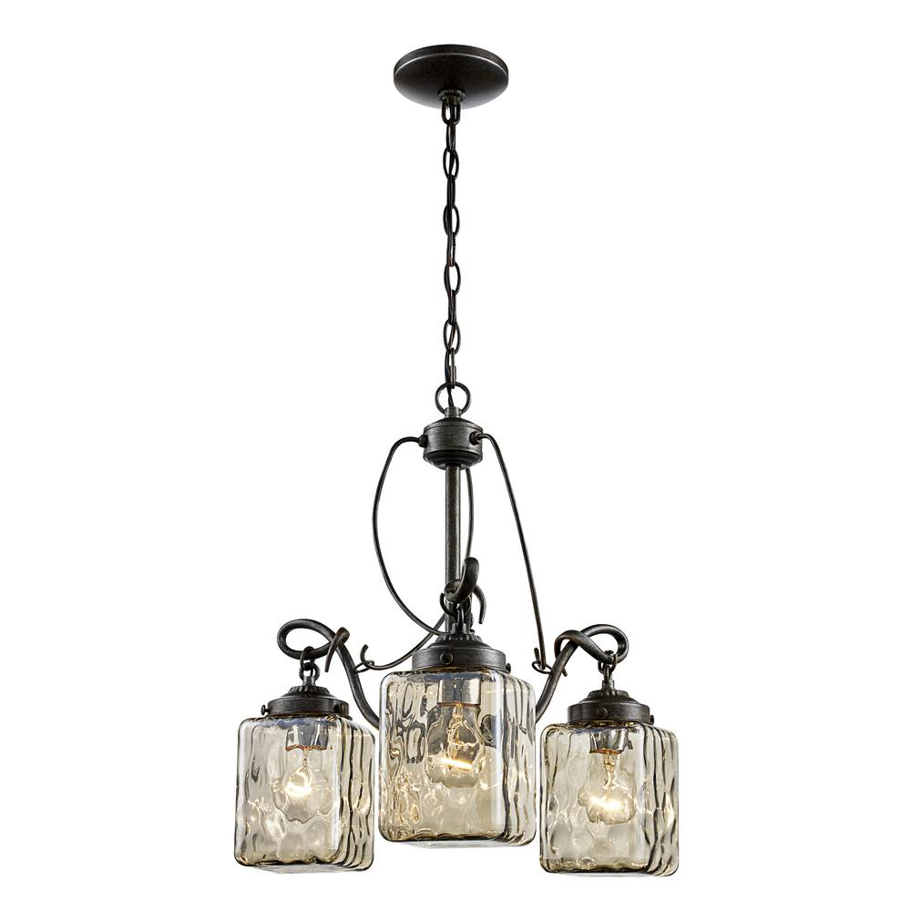 Moore 3-Light Antique Bronze Chandelier with Water Glass Shades