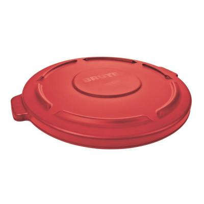 Brute 32 Gal. Red Round Vented Trash Can Lid