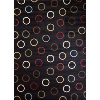 Soho Circles Black 5 ft. 3 in. x 7 ft. 3 in. Area Rug