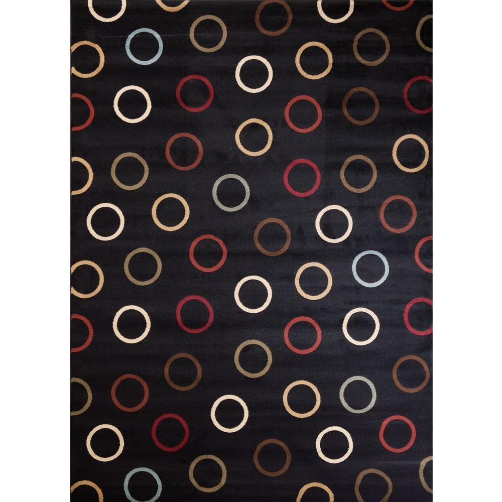 Soho Circles Black 7 ft. 10 in. x 10 ft. 10