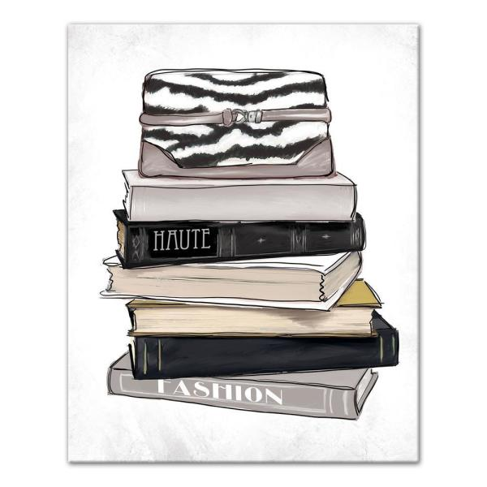 e1875a0e6e37 DESIGNS DIRECT 8 in. x 10 in.   Fashion Book Stack   Printed Canvas Wall  Art 4208-H1 - The Home Depot