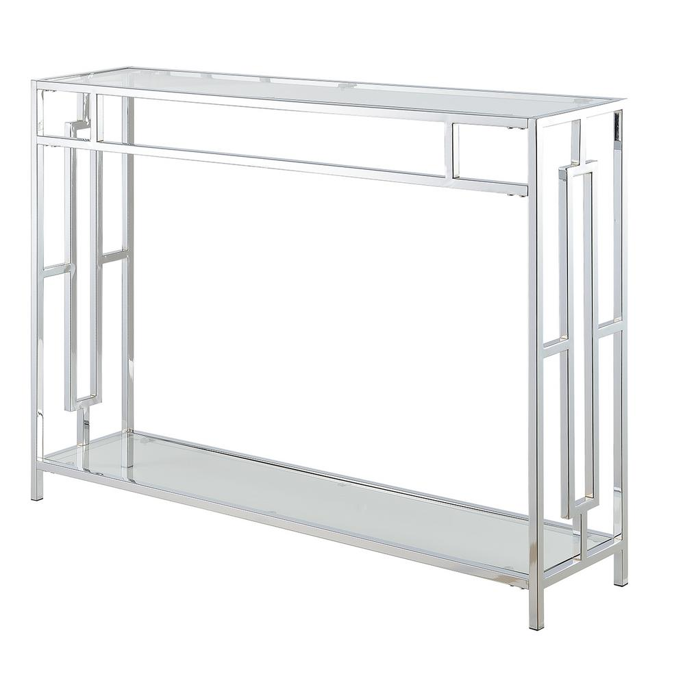 Convenience Concepts Town Square Glass And Chrome Console Table S14