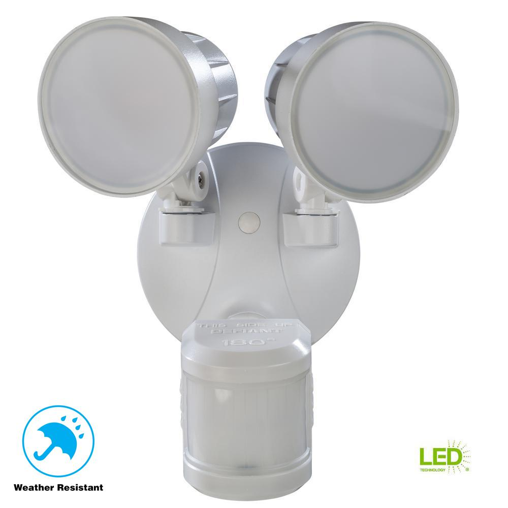 Defiant Outdoor Flood Light: Defiant 180° White Motion Activated Outdoor Integrated LED