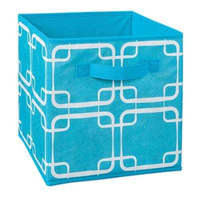 11 in. W x 11 in. H x 11 in. D Ocean Blue Square Print Fabric Drawer
