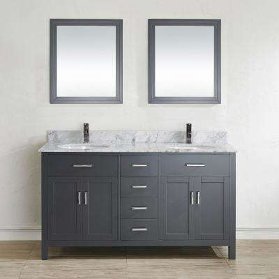 Kalize II 63 in. W x 22 in. D Vanity in Pepper Gray with Marble Vanity Top in Gray with White Basin and Mirror