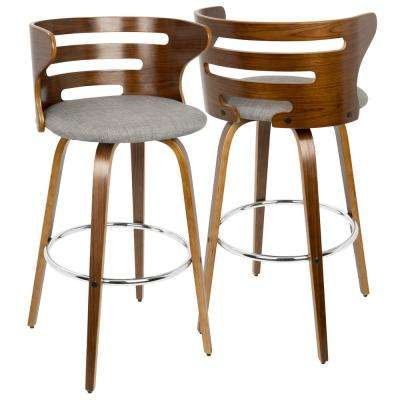 Cosini Walnut and Grey Mid-Century Modern Barstool