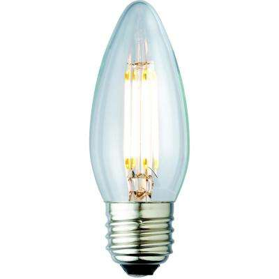 25W Equivalent Soft White B10 Clear Lens Nostalgic Candelabra Blunt Tip Dimmable LED Light Bulb (2-Pack)