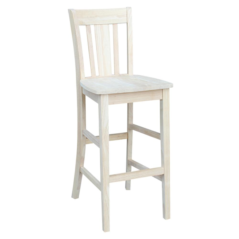 International Concepts 30 In Unfinished Wood Bar Stool S 103 The Home Depot