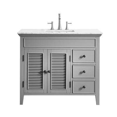Piedmont 42 in. W x 23 in. D Vanity in Grey with Marble Vanity Top in White with Basin