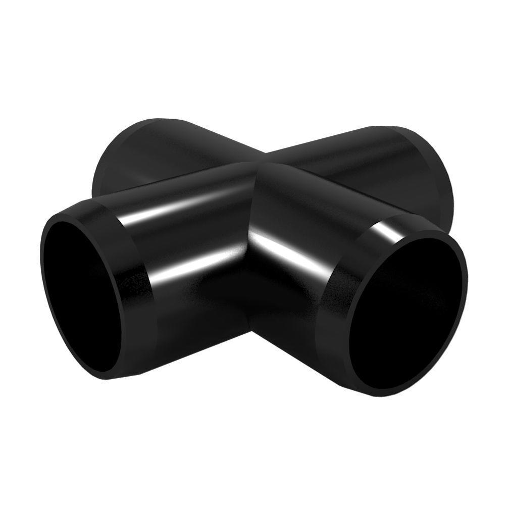 1/2 in. Furniture Grade PVC Cross in Black (10-Pack)