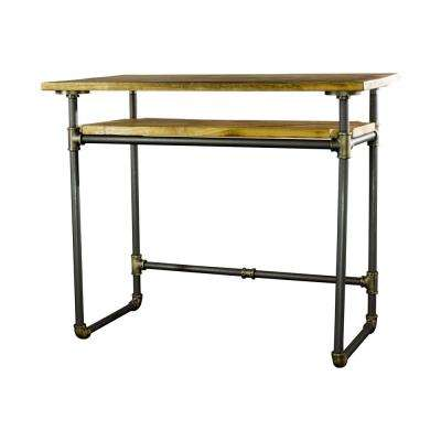 36 in. Rectangular Brushed Brass/Natural Stain Writing Desk with Solid Wood Material