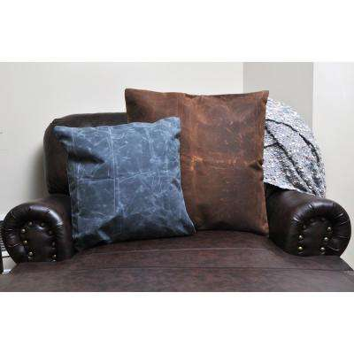 24 in. x 24 in. Waxed Canvas Khaki Square  Standard Pillow with Green Eco Friendly Insert