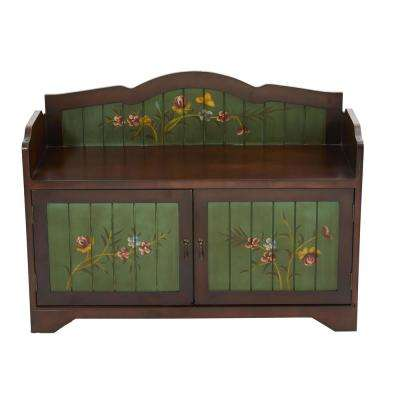 36 in. Brown and Green Antique Floral Art Bench with Drawers