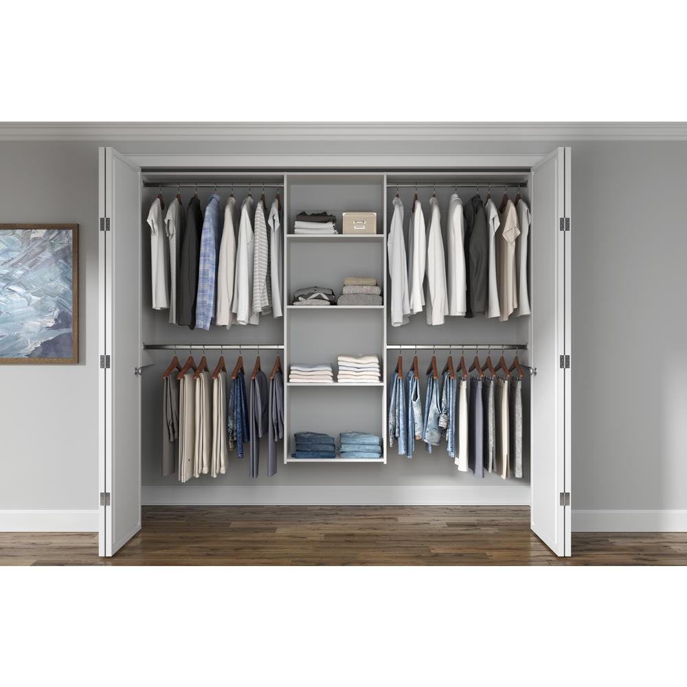 Closet Evolution Essential Plus 60 in. W - 96 in. W White Wood Closet System