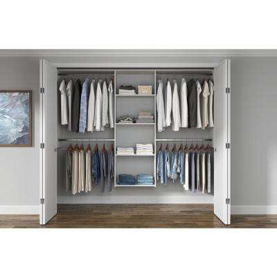 Essential Plus 60 in. W - 96 in. W White Wood Closet System