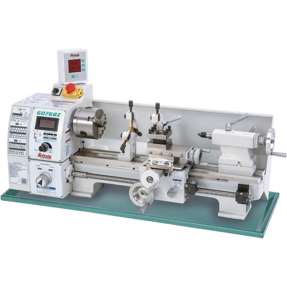Grizzly Industrial 8 in  x 16 in  Variable-Speed Lathe with DRO