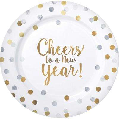 New Year's 7.5 in. Round Premium Plastic Plates (20-count, 1-pack)