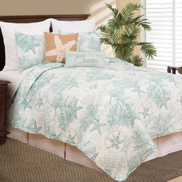 C&F HOME Ocean Treasures Blue Twin Quilt Set 82374.2TSET