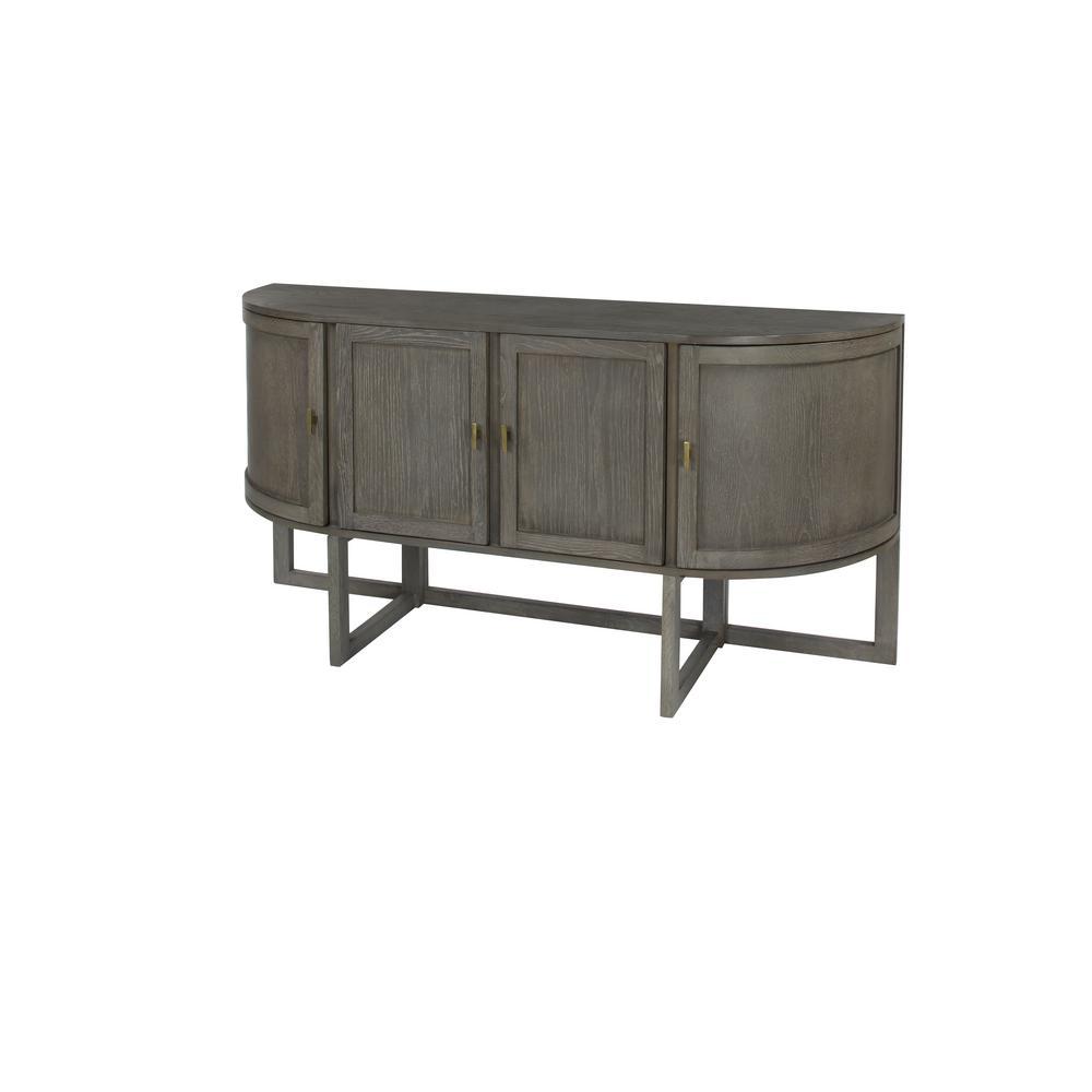 Litton Lane Distressed Gray Oak Half-Oval 4-Door Cabinet 46349