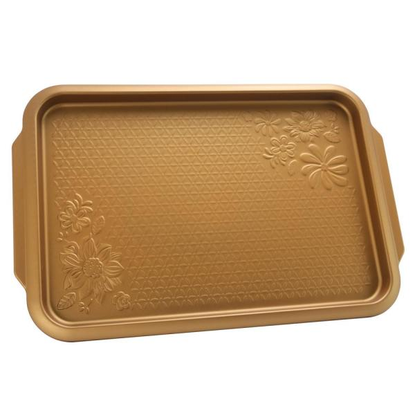 Gibson Home Country Kitchen 15 in. Embossed Carbon Steel Copper Cookie Sheet