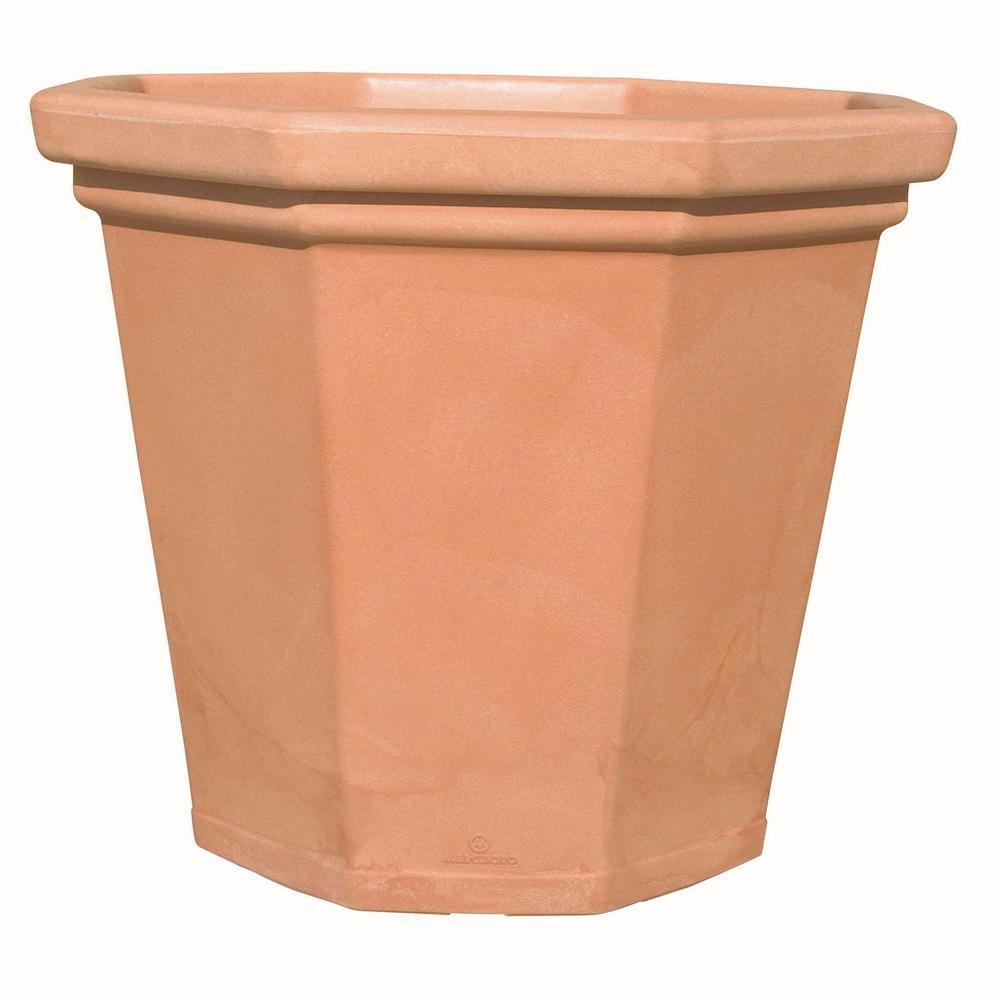 Marchioro 16 in. Octagonal Terra Cotta Plastic Planter Pot