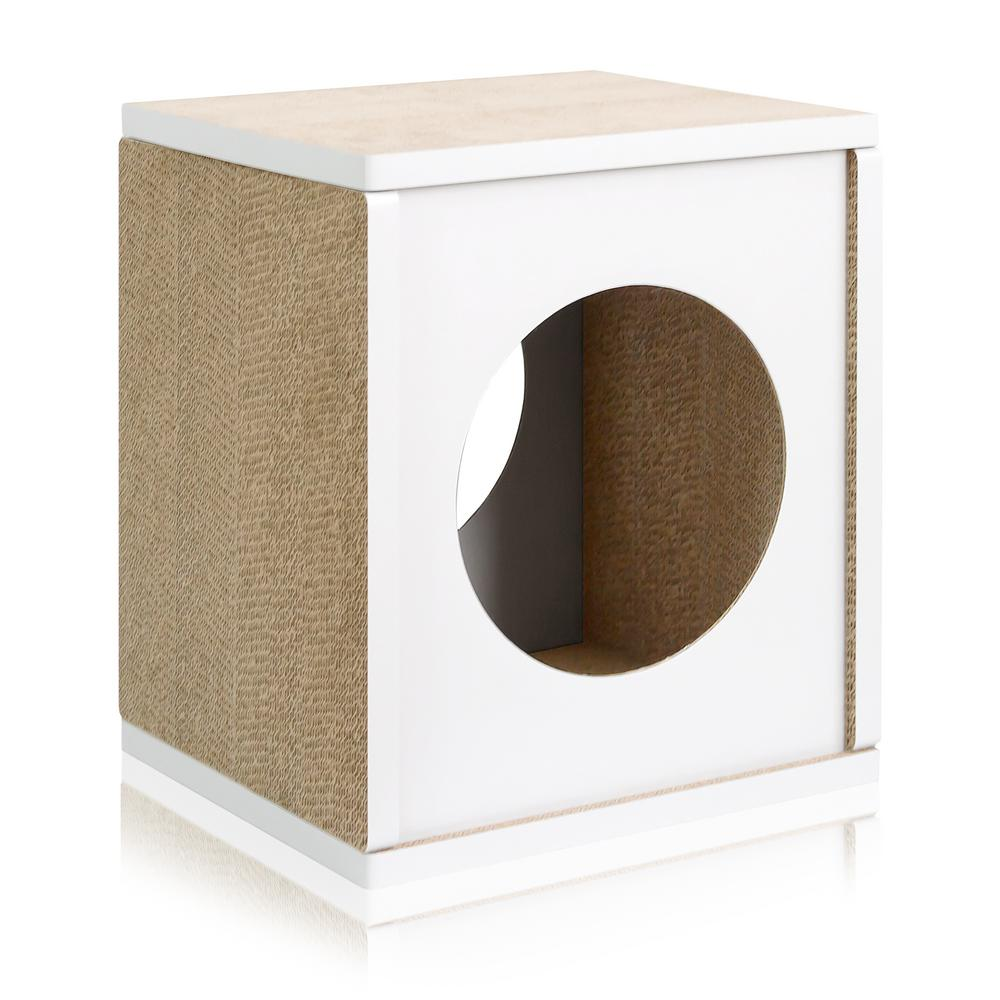 Eco Zboard White Cat Scratcher Cube Post And House