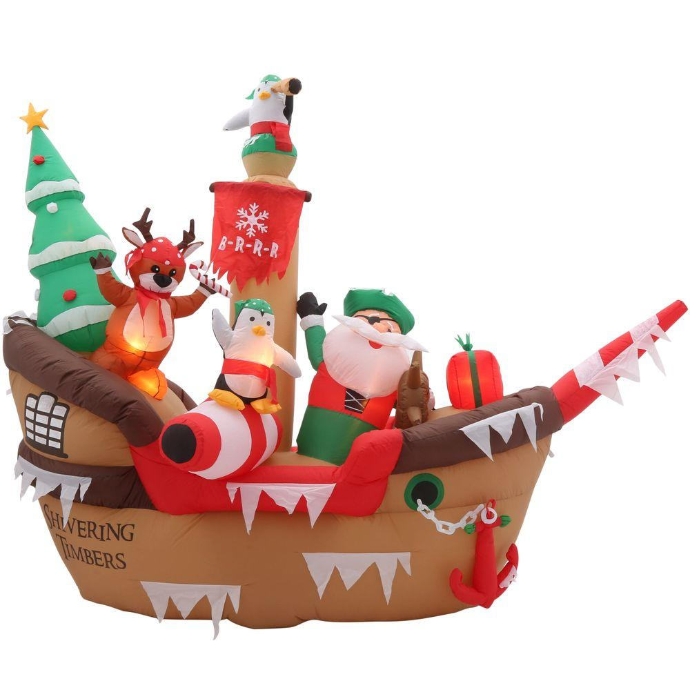 home accents holiday 8 ft h inflatable giant christmas pirate ship scene - Christmas Blow Ups