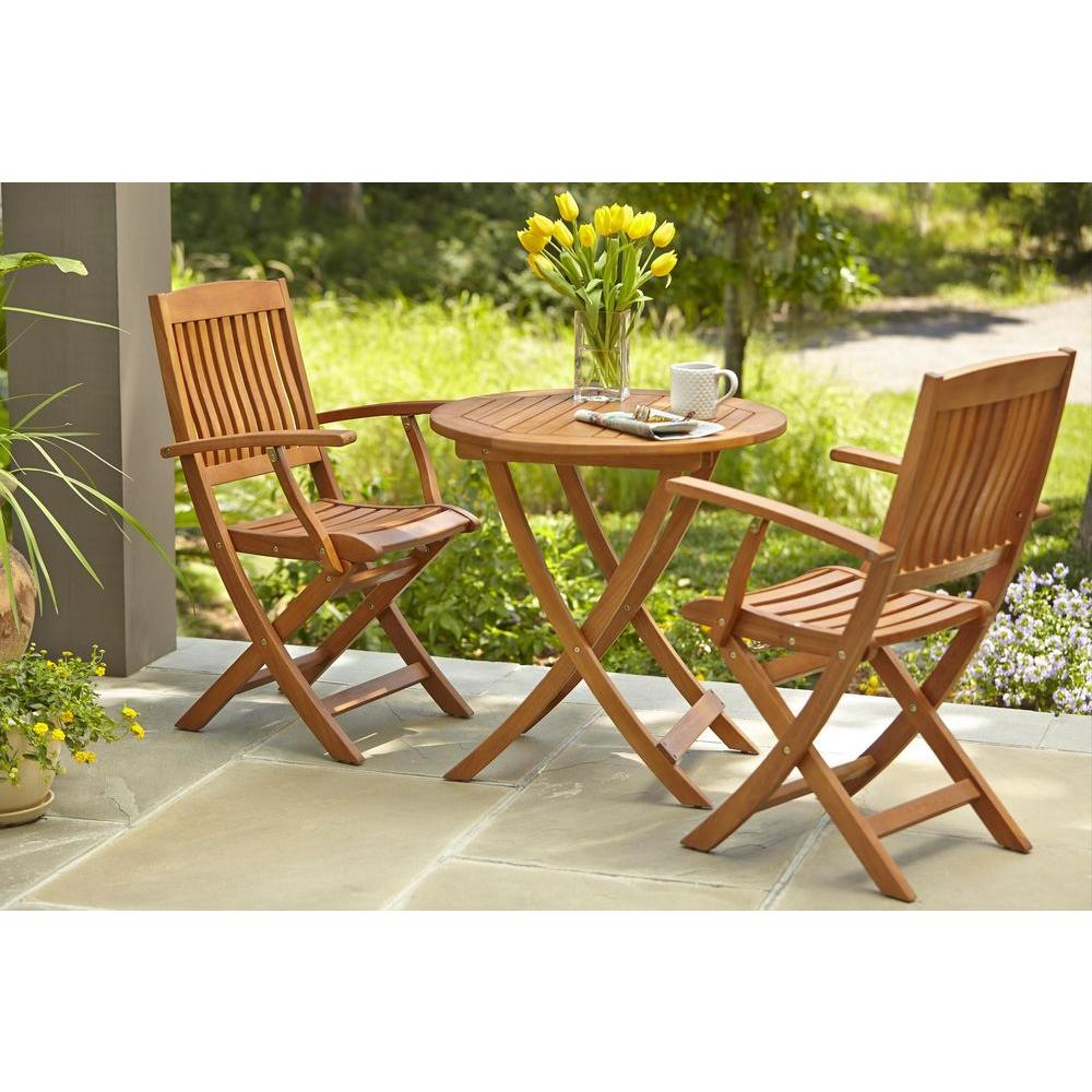 Brilliant Hampton Bay Armchair Natural Oil Finish Folding Wood Outdoor Dining Chair 2 Pack Gamerscity Chair Design For Home Gamerscityorg