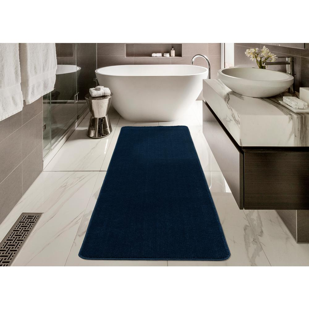 Blue Kitchen Rug: Solid Design Navy Blue Non-Slip Rug Runner Rubber Backing