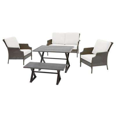 Grayson Ash Gray 5-Piece Wicker Outdoor Patio Dining Set with CushionGuard Chalk White Cushions
