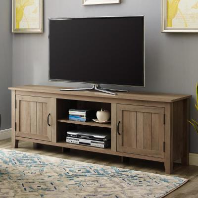 16 in. Rustic Oak Composite TV Stand 76 in. with No Additional Features