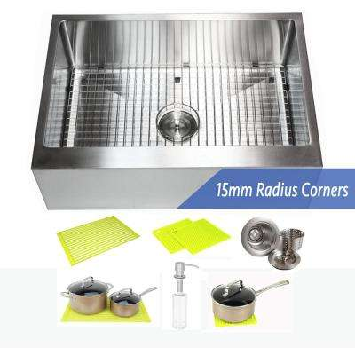 30 in. x 21 in. x 10 in. 16-Gauge Stainless Steel Farmhouse Apron Flat Front Single Bowl Kitchen Sink Combo