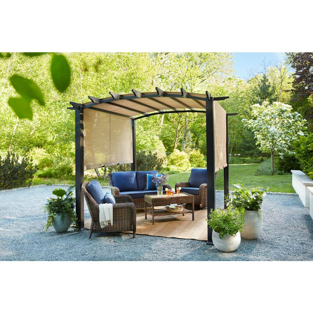 hampton bay 10 ft x 10 ft steel and aluminum arched pergola with slide canopy gfm00471a the. Black Bedroom Furniture Sets. Home Design Ideas