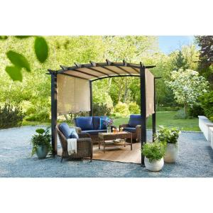 10 ft. x 10 ft. Steel and Aluminum Outdoor Patio Arched Pergola with Sliding Canopy