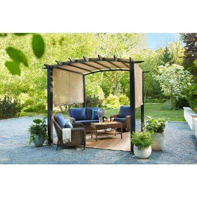 10 ft. x 10 ft. Steel and Aluminum Arched Pergola with Slide Canopy