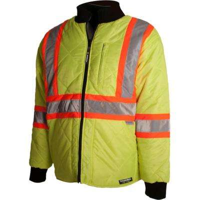 Men's Large Yellow High-Visibility Quilted and Lined Reflective Safety Freezer Jacket