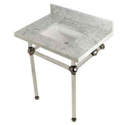 Square Sink Washstand 30 in. Console Table in Carrara Marble with Acrylic Legs in Polished Nickel