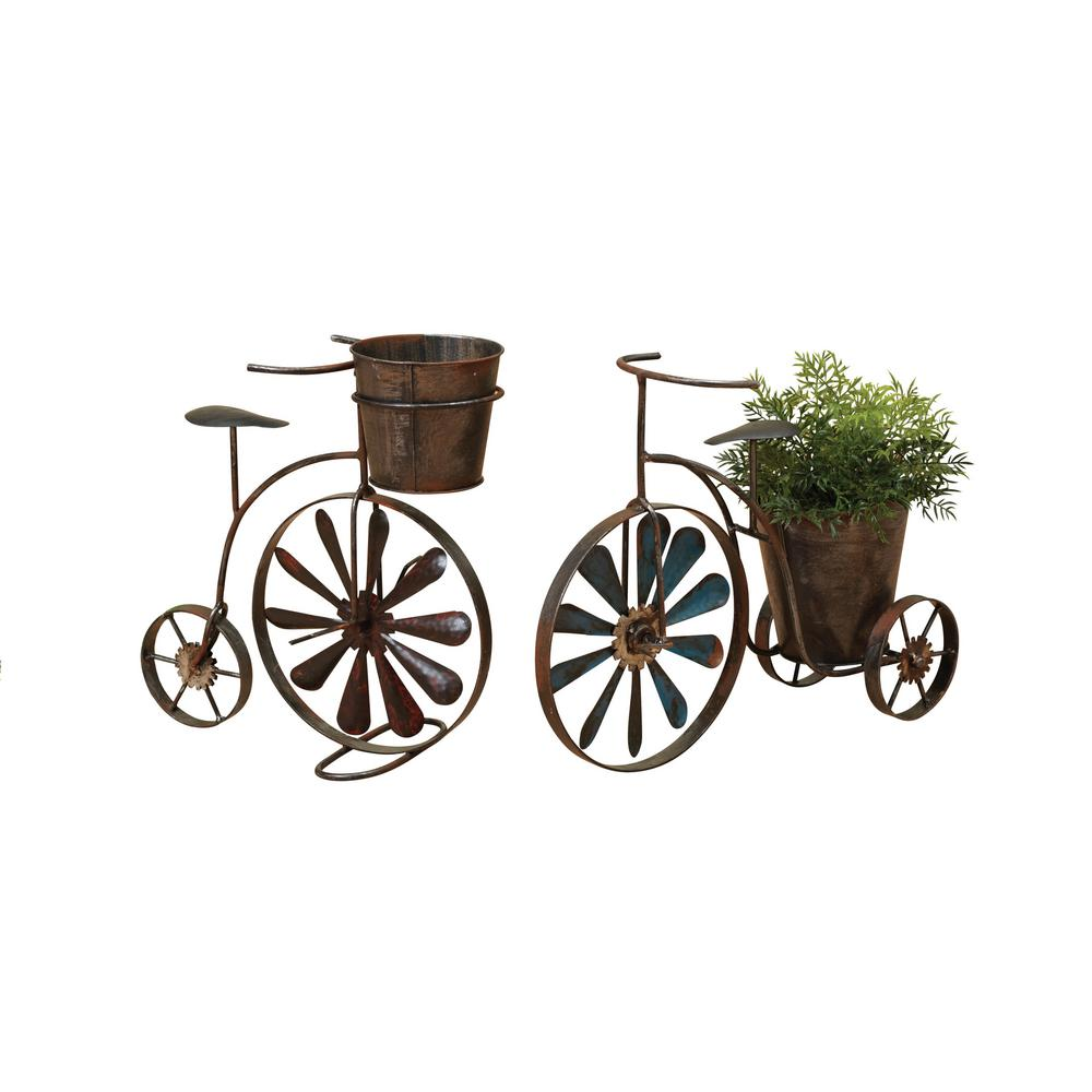 Gerson 15 in. x 11 in. Brown Metal Tricycle Planters with Wind Spinner Spokes (2-Set)